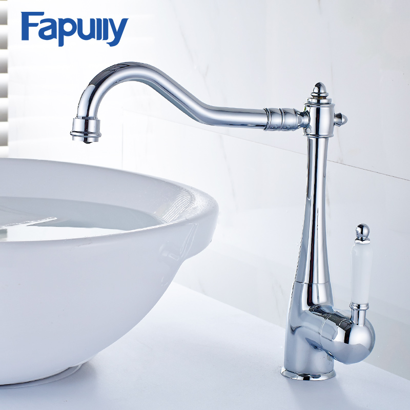 цена Fapully Basin Faucet Brushed Nickel Bathroom Deck Mounted Cold Hot Sink Mixer Tap Water