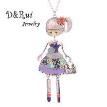 цена на Dance Doll Necklace Pendant Lovely Girl Wear Dress Bag Charms Collar Jewelry Long Sweater Chain Women Fashion Charm Jewelry 2019
