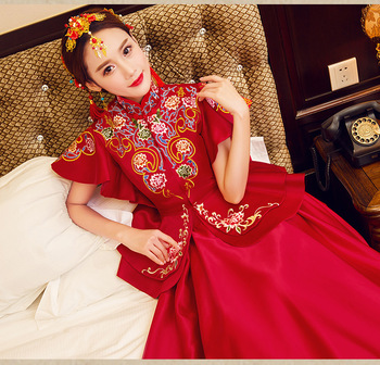 Improved Short Sleeve Women Red Qipao Chinese Bride Vintage Wedding Party Dress Marriage Suit Embroidery Flower Long Cheongsam