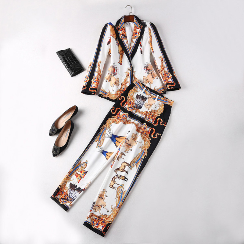 European American Runway Style Women s Elegant Printing Pant Suits Notched Blazer Trousers Autumn Twin Sets