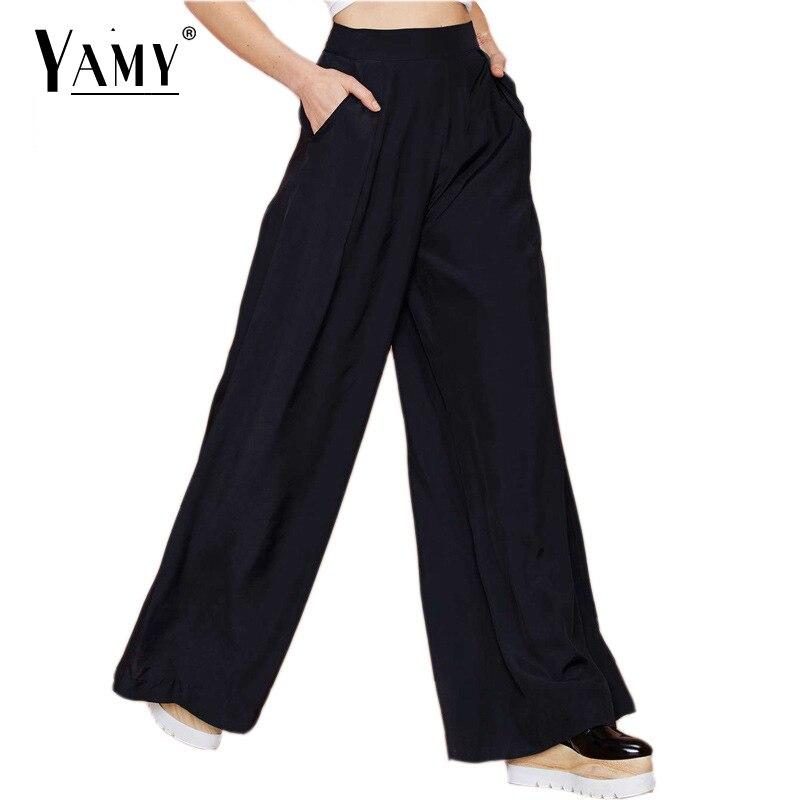 47986e48361 Kobiety szeroko nogi spodnie Wiosna Lato kobiety Moda casual czarny maxi  długie spodnie Nowy styl