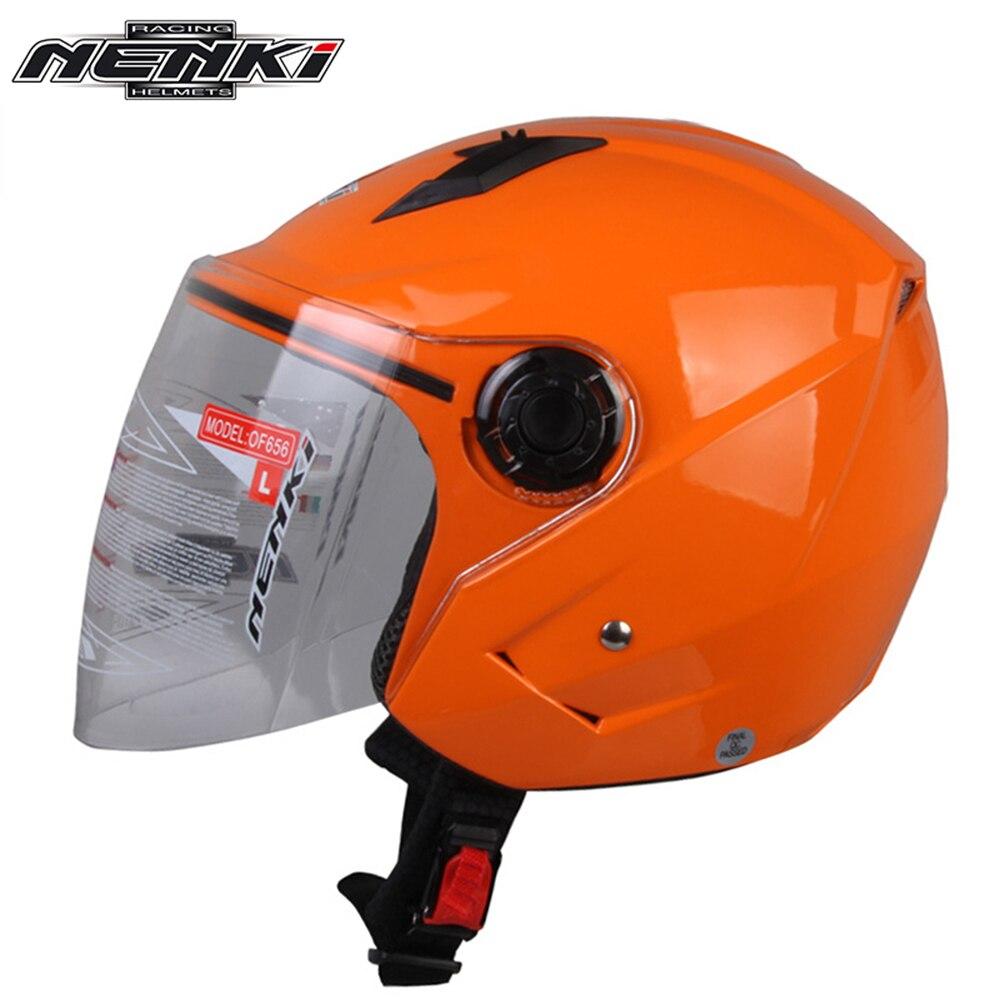 NENKI Fashion Motorcycle Open <font><b>Face</b></font> <font><b>Helmet</b></font> with Clear Lens Shield Scooter Cruiser Chopper Touring Street Bike Riding <font><b>Helmet</b></font>