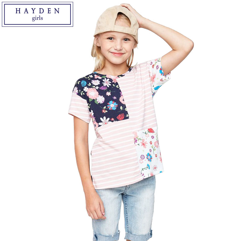 HAYDEN Girls Short Sleeve Tee Shirt Kids Floral Patchwork Tops Teenage Girls Brand Clothing for Summer Teens Cotton Tshirt Top