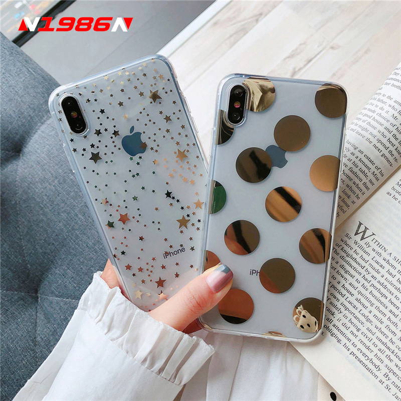 N1986N For iPhone 6 6s 7 8 Plus X XR XS Max Phone Case Luxury Electroplated Star Wave Point Clear Soft TPU For iPhone 11 Pro Max