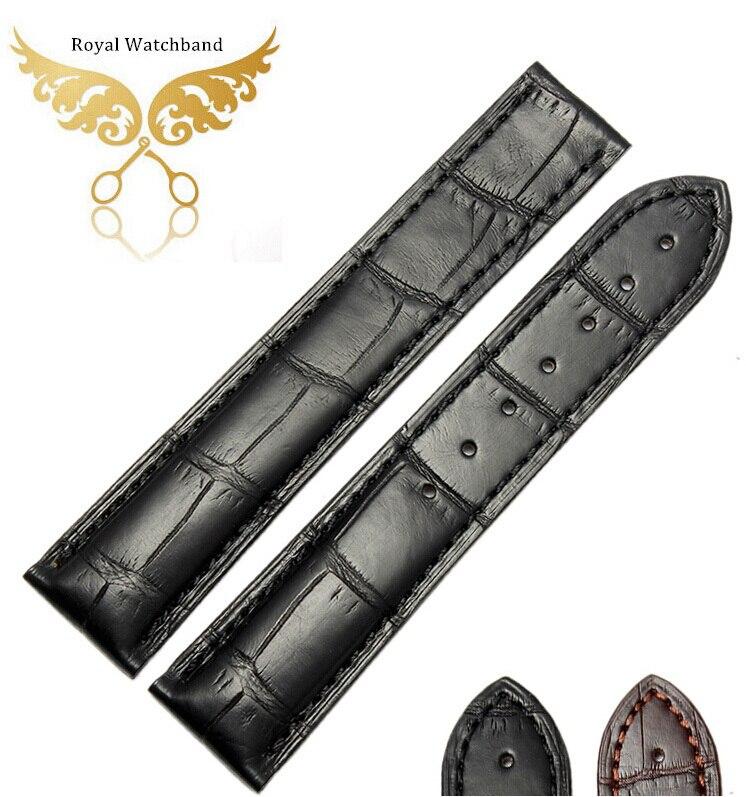 20mm Top Grade Black Handmade Coffee Genuine Alligator Leather Watch Strap Band Free Shipping 23mm handmade bule new high qaulity genuine alligator leather watch strap band for brand