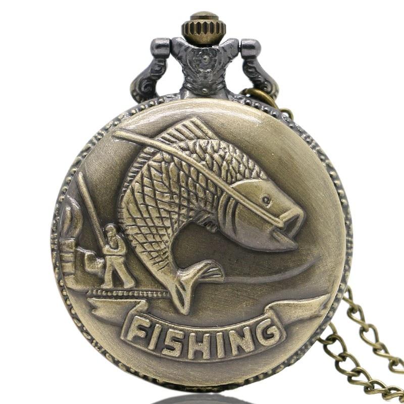 Vintage bronzos žvejybos kišeninių laikrodžių karoliai - Kišeninis laikrodis