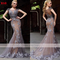 Prom Dress 2016 New Design Elegant Luxury Floor-Length Mermaid Sweetheart Cap Sleeve Lace Custom Made Robe de Soiree
