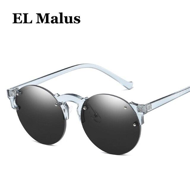 7bad8a5d3b  EL Malus 2018 New Oval Lens Rimless Sunglasses Women Mens Blue Pink Mirror  Female