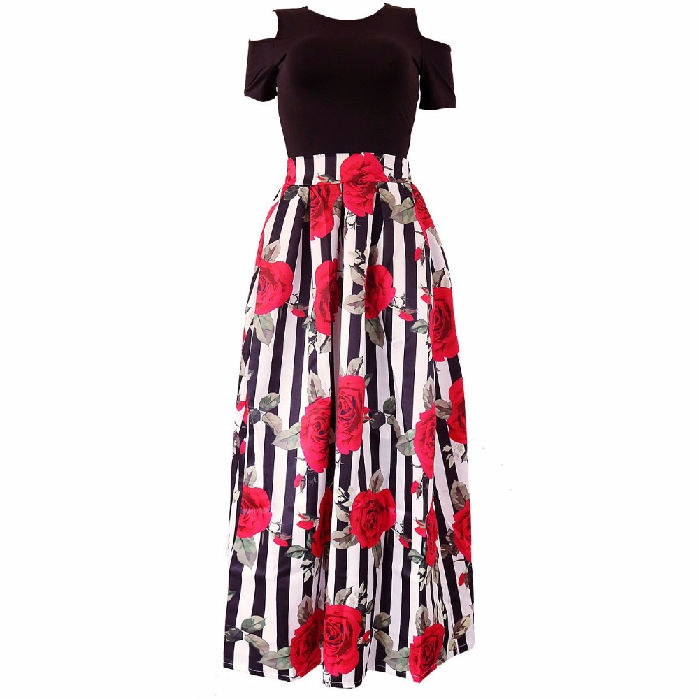 Two Pieces Casual Women Maxi Skirt And Short Sleeve Black Top Set Long Pattern Floral Skirt Plus Size S-6XL Women Clothes Summer