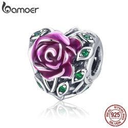 BAMOER 925 Sterling Silver Romantic Rose Love Flower in Heart Shape Pink Enamel Charms Beads fit Bracelets DIY Jewelry SCC927