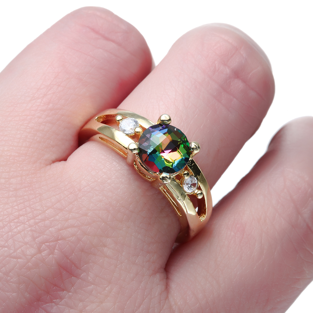 Gold Color Rainbow Crystal Rings for women Wedding gift new fashion ...
