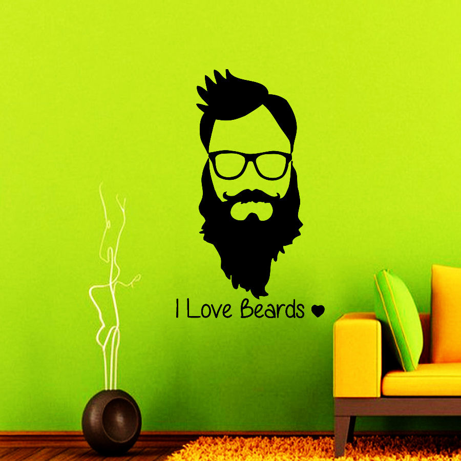 2018 Hair Salon Vinyl Wall Decal Man Barbershop Quote For I Love