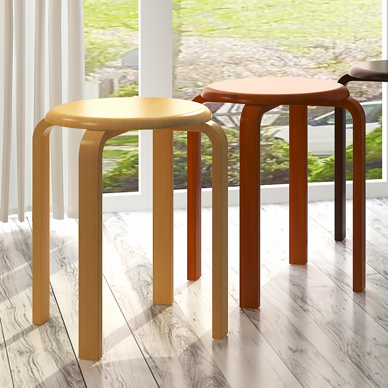 LK612 Creative Dining Stool Fashion Solid Wooden Stool with anti slip Pad Heavy Bearing Chair Rounded Edge Sitting