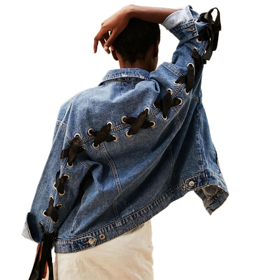 Vintage Lace Up Sleeve Jeans Jacket Coat Women Light Blue -2054