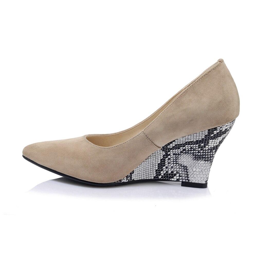 Femmes noir Bout D'été Cales Élégant Pointu Couleur Pompes Chaussures Peu 2018 Qualité En Cuir Smeeroon Suédé Profonde Apricot Top Solide PSZqwgn0H