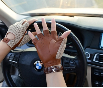 Men genuine leather gloves male sheepskin machinist driving men driver