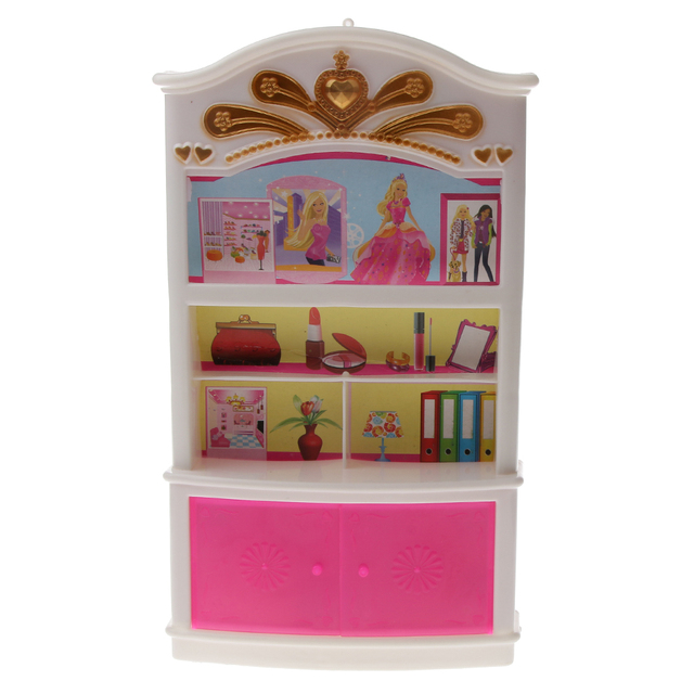 Dollhouse Plastic White U0026 Pink Display Cabinet/Wardrobe Bedroom Furniture  Doll House Decor For Barbie