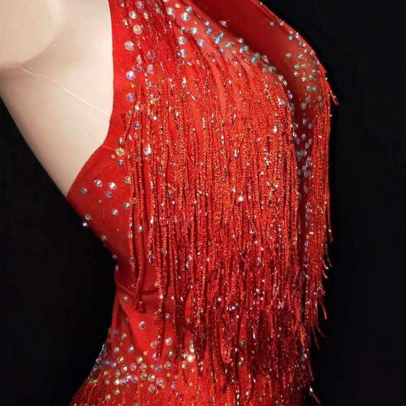 キラキララインストーンタッセルレオタードナイトクラブダンスショーステージ摩耗スーツパーティー女性ステージジャズダンス歌手の衣装