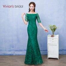 Vivian der Braut Boot-ausschnitt Spitze Meerjungfrau Abendkleider Flügelärmeln Grün Prom Kleider Robe de Soire