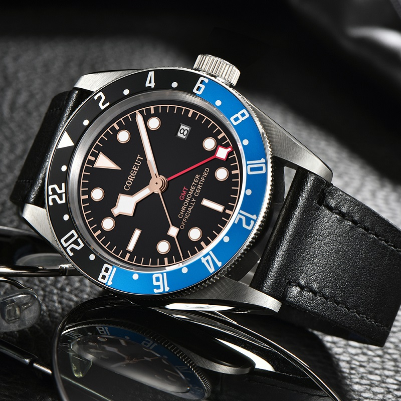 Corgeut Luxury Brand Schwarz Bay GMT Men Automatic Mechanical Watch Military Sport Swim Clock Leather Mechanical