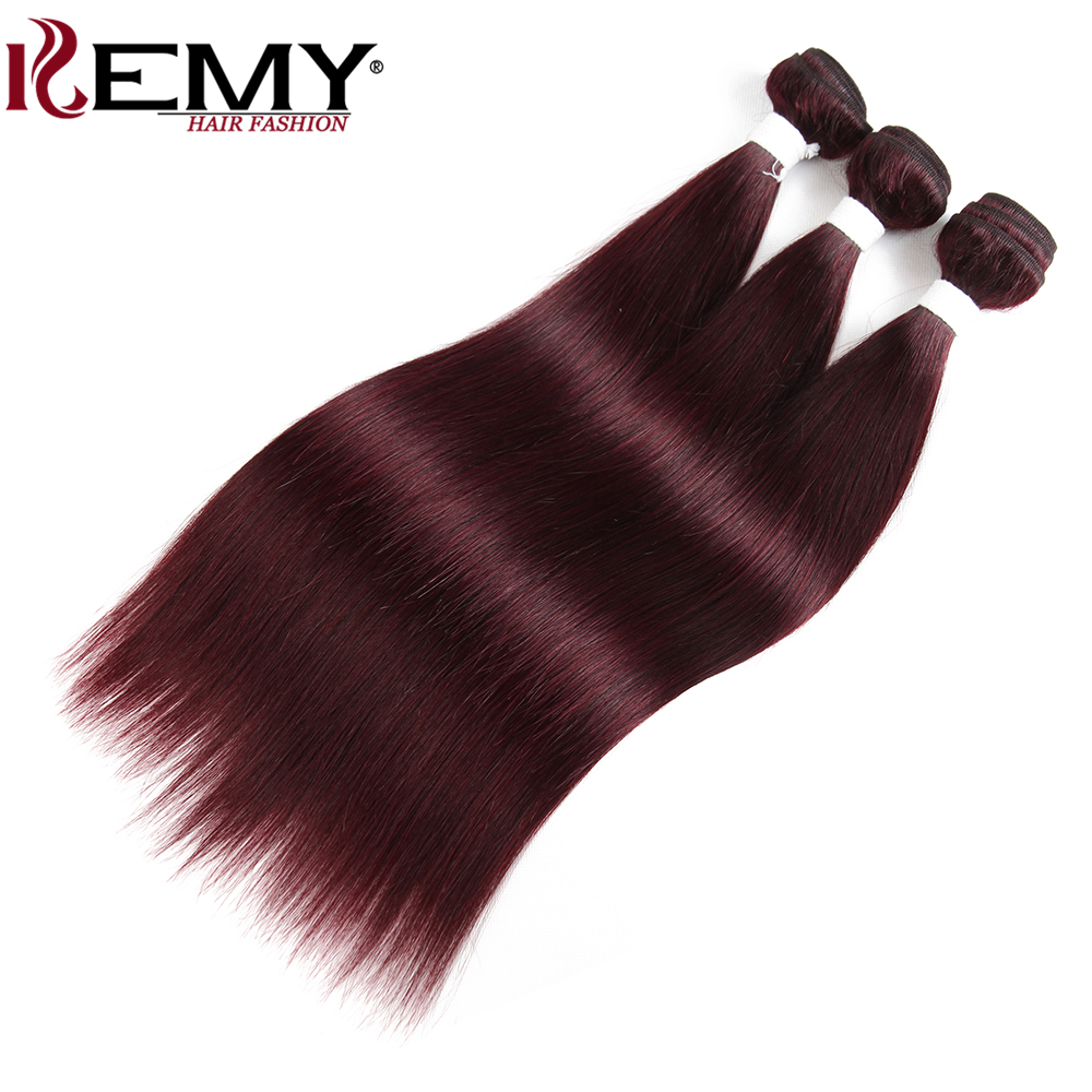 Image 2 - 99J/Burgundy Brazilian Straight Human Hair Weaves Bundle KEMY HAIR 8 to 26 Inch Hair Weaving 1 PC Non Remy Hair Extensions-in Hair Weaves from Hair Extensions & Wigs