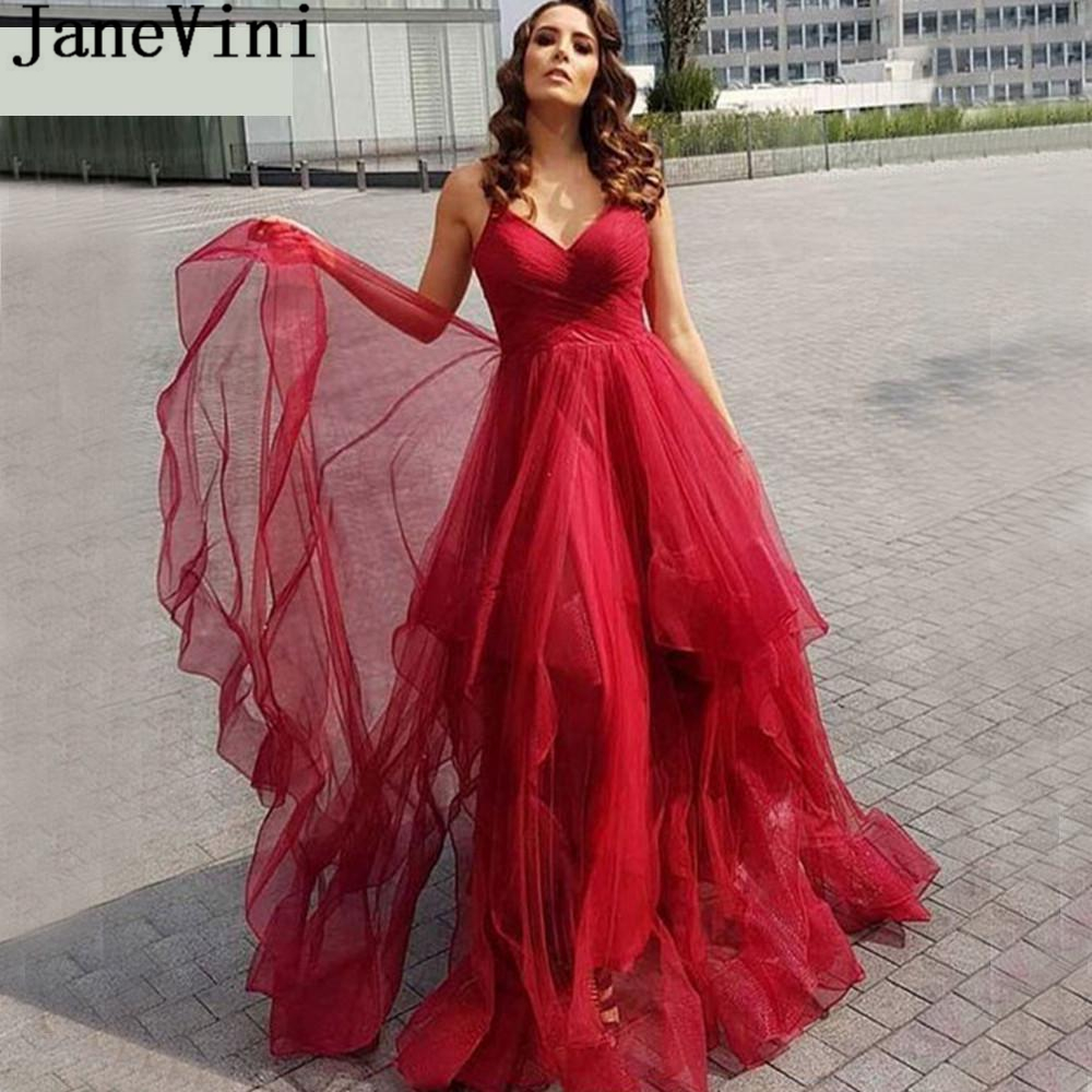 JaneVini Elegant A Line Red Long   Prom     Dresses   Spaghetti Straps Tiered Tulle Sweep Train Plus Size Formal Party Gowns Galajurken
