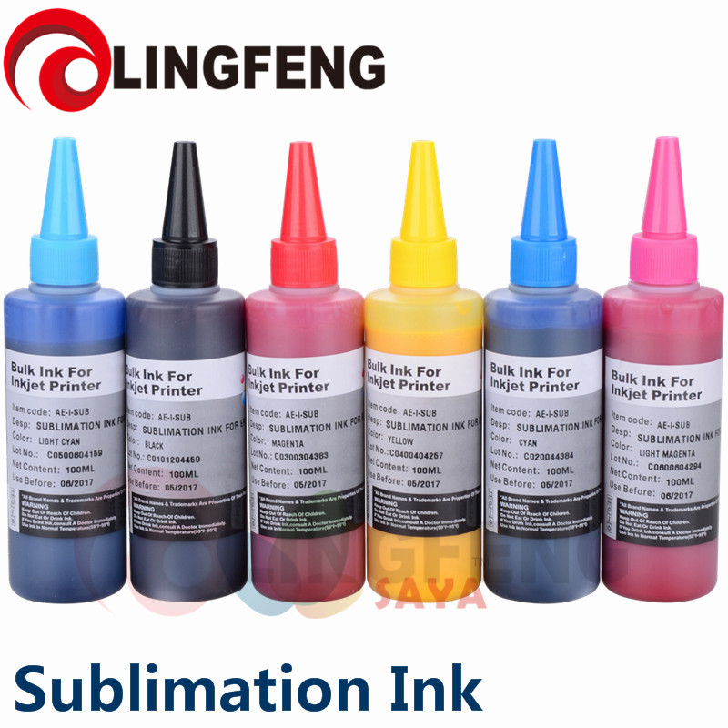 Sublimation Ink Heat Transfer Ink For EPSON Inkjet Printer 6 colorx100ml