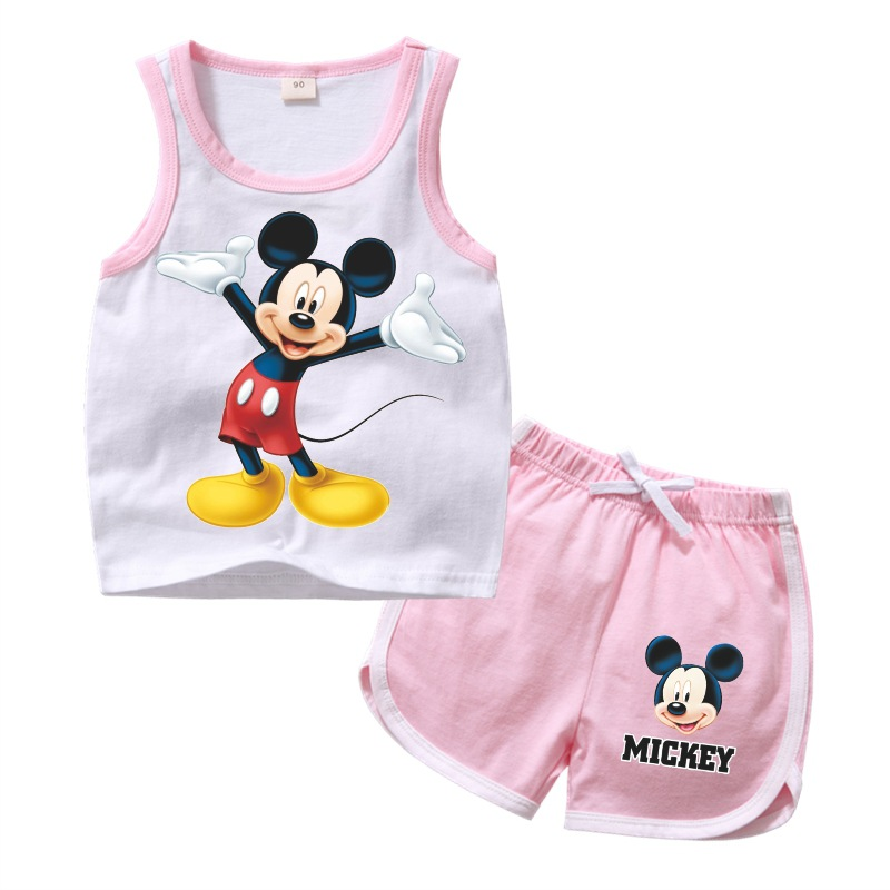 2019 summer Minnie baby girls Clothes Set Kids Outfits Clothes Mickey T-shirt Tops +shorts pants 2pcs baby Boys Clothing Sets figurine