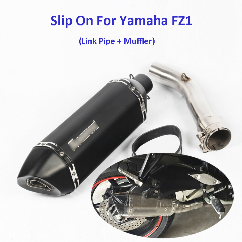 FZ1 Motorcycle Carbon Fiber Exhaust Pipe Middle Mid Link Connect Tube Slip On Whole Set Pipe For Yamaha FZ1 motorcycle link pipe stainless steel carbon fiber exhaust muffler silence set link middle pipe for yamaha r1 2009 2014 slip on