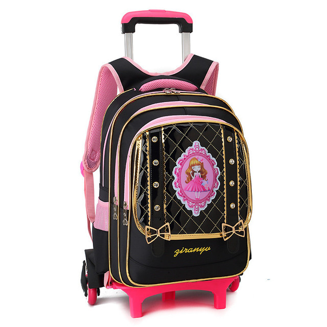 90b6524ed70a Lovely Children School Bags with 2 6 Wheels for 8-12 year old Girls  Removable Trolley Backpack Kids travel luggage Mochila