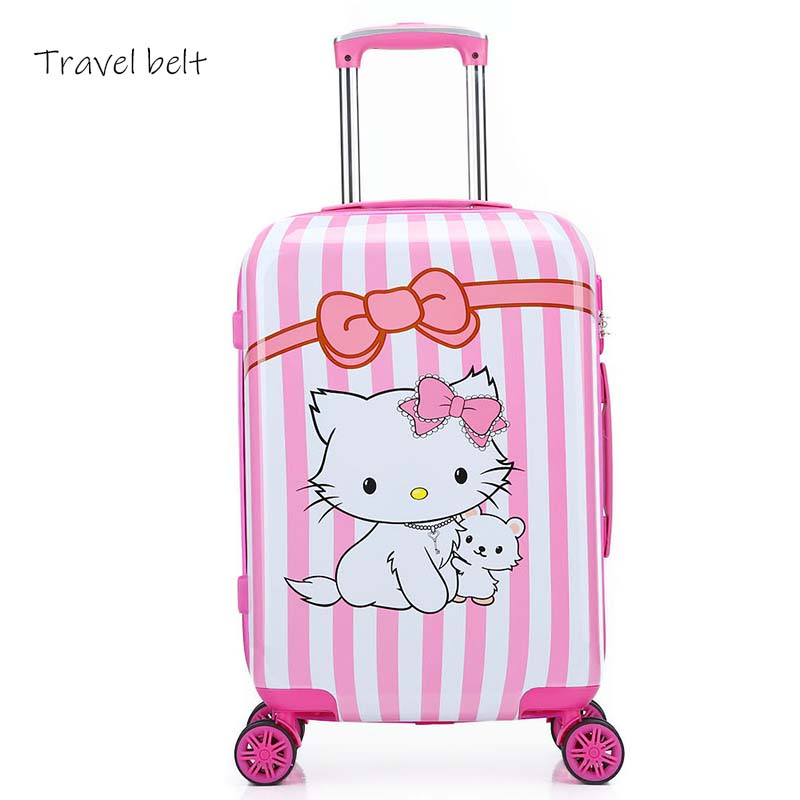 Travel Belt Cute Cartoon Children Rolling Luggage Spinner 20 Inch Kids Travel Bags Cabin Trolley Case Animal Suitcase Wheels
