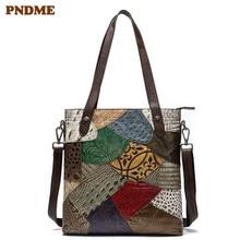 PNDME fashion vintage designer genuine leather ladies briefcase embossed stitching tote handbag shoulder laptop bag for women
