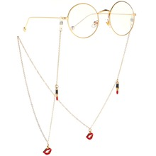 Reading Glasses Chain Lipstick Lips Sunglasses Holder Neck Strap Rope Ornaments Necklace Convenient Eyeglass