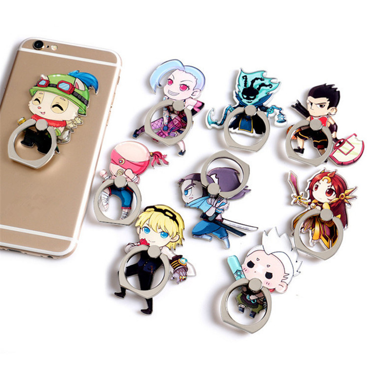 New Design 1 Piece Acrylic Finger Ring cute mobile phone holder Stand Rings Cute Deemer Cartoon Smartphone mobile for iPhone