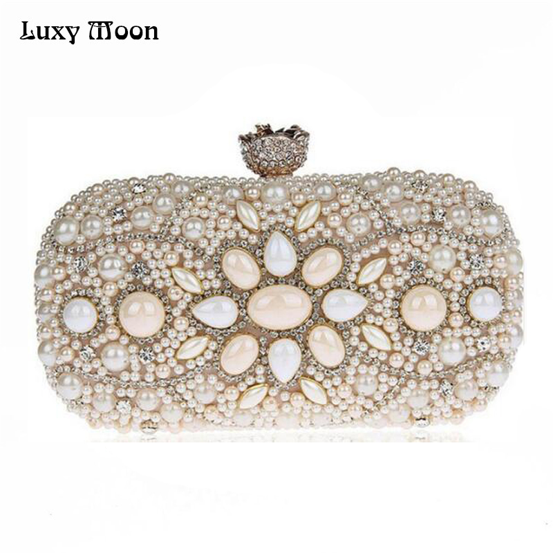 Luxy Moon Vintage Design Women Clutch Bag Black Beige Evening Bag Luxury Diamond Clutches Hot Wedding Party Purse Chain Handbags