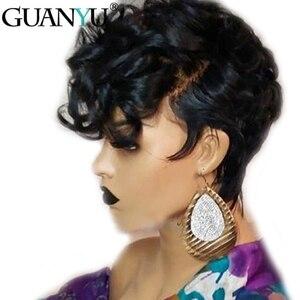 150% الكثافة الجني البرازيلي ريمي الإنسان خصلات الشعر المستعار غلويليس 13*4 الدانتيل الجبهة الباروكات نطاط شعر بشري مجعد أسود اللون للنساء