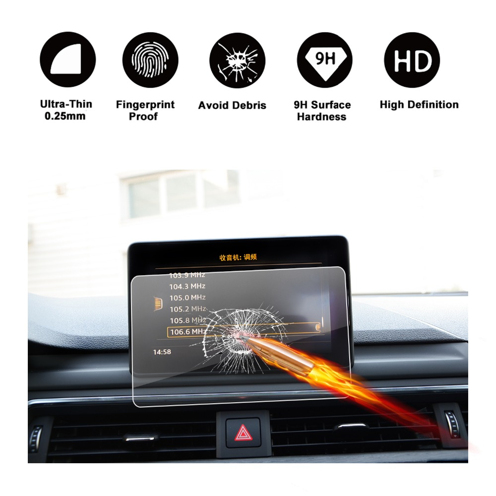 RUIYA <font><b>screen</b></font> protector for <font><b>Audi</b></font> <font><b>A4</b></font> B9 Central <font><b>MMI</b></font> display 7inch navigation touch center <font><b>screen</b></font>,9H tempered glass protective film image