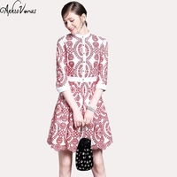 Spring Women Elegant Lace Dress Vintage Floral Princess Kate Red Embrodidery Hollow Out Single Breasted Women