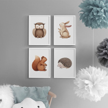 Rabbit Owl Hedgehog Squirrel Nursery Prints Wall Art Canvas Painting Nordic Posters And Pictures For Kids Room Decor
