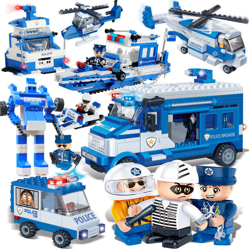 450PCS Compatible with City Police Station Building Blocks Bricks Car Model Helicopter boys Toys Birthday Gift Toy Brinquedos kazi air force plane diy bricks compatible all brand police helicopter building blocks boy s brinquedos toys kids birthday gift