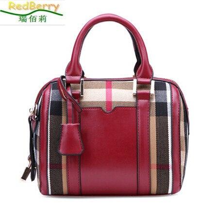 ФОТО 2015 New Retro Women Handbags European Style Boston Bag Plaid High-grade Leather Fashion Bag Portable Messenger Bag Best Selling