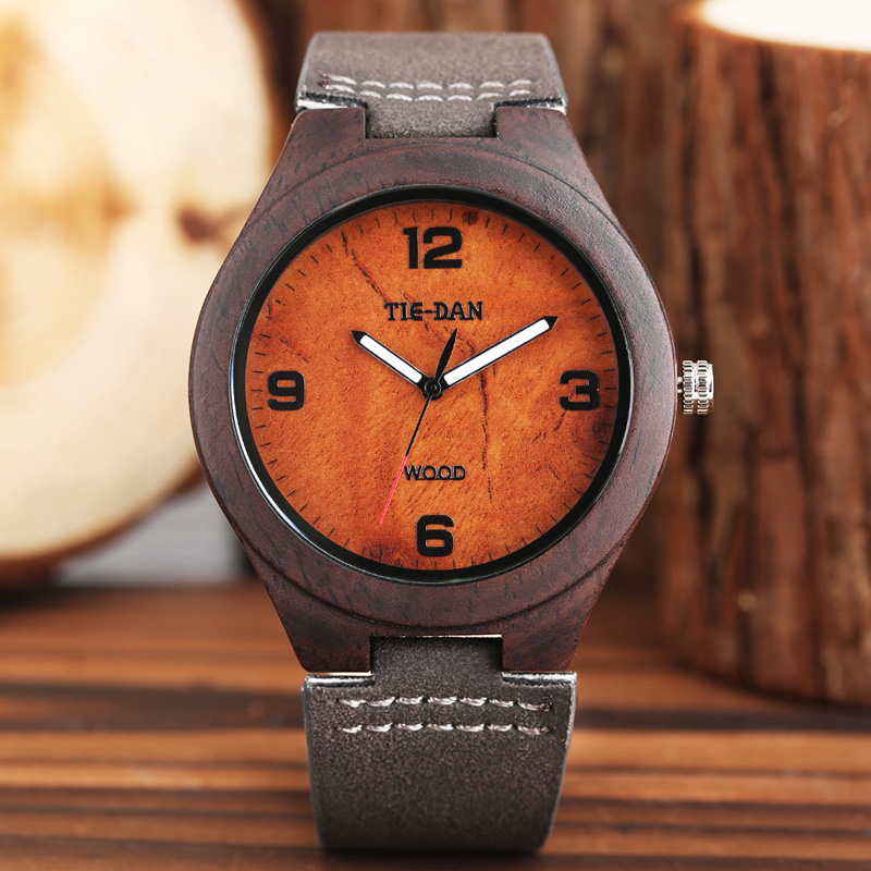 TIEDAN Creative Men Wooden Watch Top Brand Bamboo Wood Analog Clock Genuine Leather Casual Sport Wristwatch Reloj de madera 2017 bobo bird brand new sun glasses men square wood oversized zebra wood sunglasses women with wooden box oculos 2017