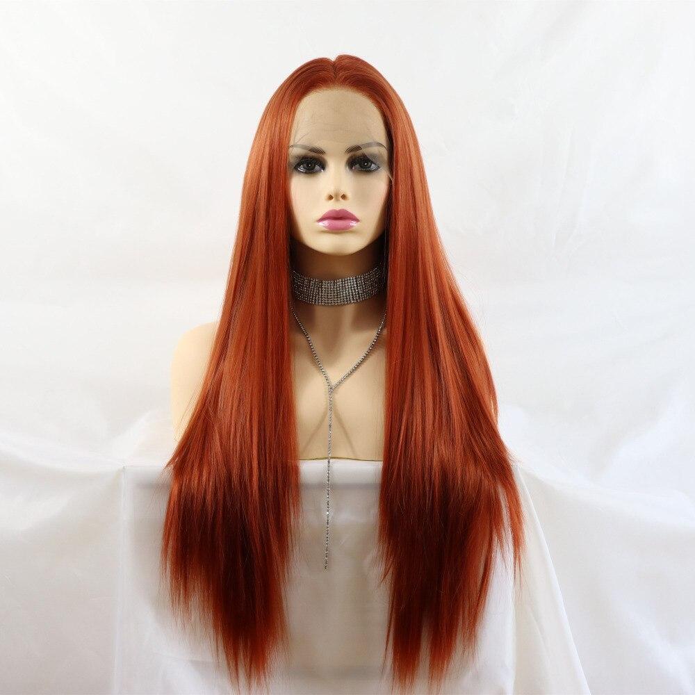 Marquesha Realista Reta Longa Copper Red Cor Natural Olhando Perucas de Fibra de Alta Temperatura Sintética Dianteira Do Laço Para As Mulheres