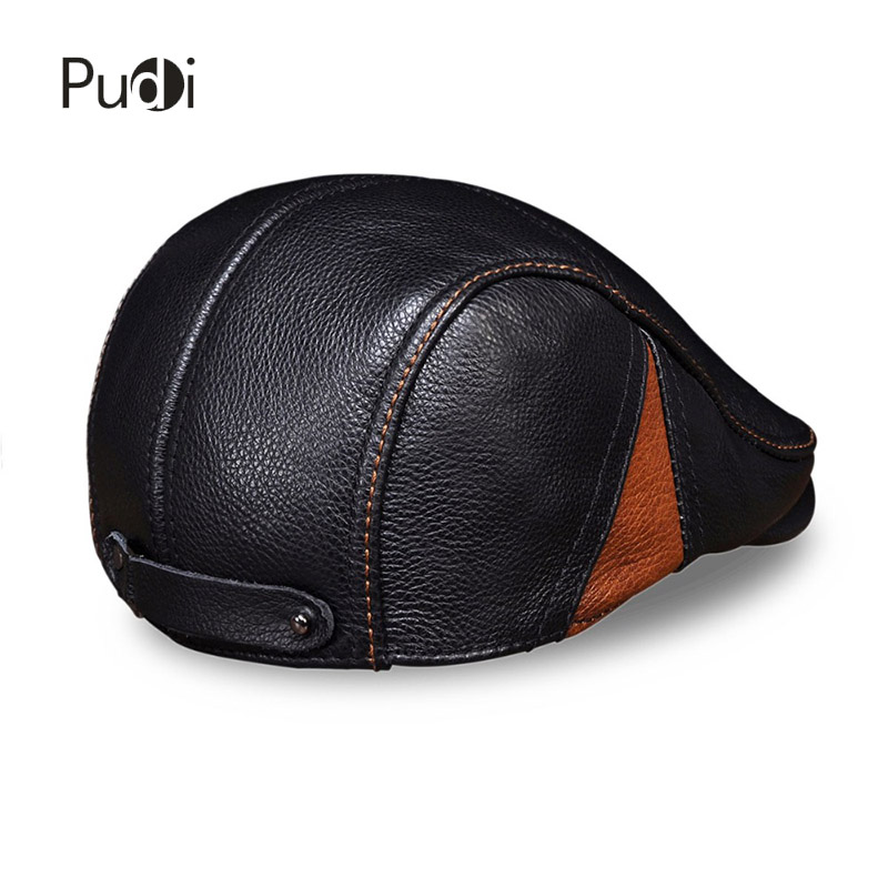 189e936cfa9 HL111 Spring Men s real cow leather Flap cap hat brand new style genuine  leather baseball gatsby ascot caps newsboy beret hats -in Baseball Caps  from ...