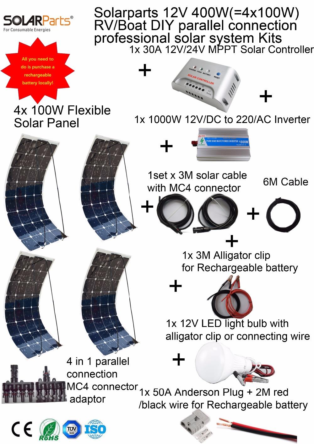 Prix pour Solarparts 1x400 W Professionnel DIY RV/Bateau/Marine Kit Système Solaire 4x100 W flexible panneau solaire MPPT contrôleur Onduleur LED