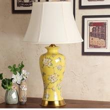 Lámpara de mesa vintage para dormitorio, lámpara de mesa china para sala de estar, para decoración de boda, lámpara de mesa de sofá de Arte de cerámica amarilla
