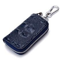 Key Wallet Carteras Mujer De Hombro Holder Leather Keychain Keysmart Porta Chaves Alligator Pattern Cowhide Purse Keychains Box