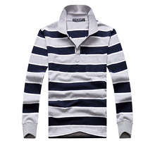 Повседневное Поло рубашка Для мужчин Лидер продаж хлопка с длинным рукавом Поло S Рубашки для мальчиков высокое качество в полоску Homme тянуть M-XXL брендовая одежда Camisa Поло