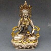 TNUKK Vintage Tây Tạng Bạc Đồng Mạ Vàng Phật Giáo Tây Tạng Tượng-Trắng Tara Phật kim loại thủ công mỹ nghệ.