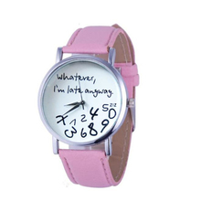 9d21af61583 Creative Watch Women Fashion 1PC Leather Watch Whatever I am Late Anyway  Letter Watches Black Quartz